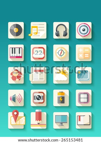 Set of icons for app. Ui kit 20 icons set of map pointer monitor, battery, pencil, notebook, media player music in flat design style isolated on style background. Raster version - stock photo