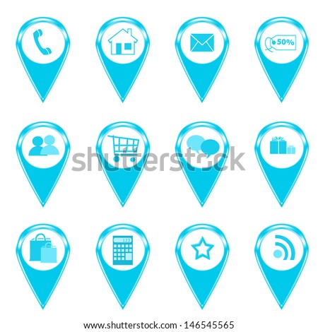 Set of icons for web or markers on maps in blue color