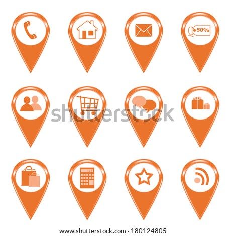 Set of icons for web or markers on maps in orange color