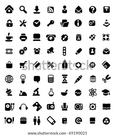 Set of 72 icons for website, computer, business, shopping, science, education and music. Raster version. Vector version is also available. - stock photo