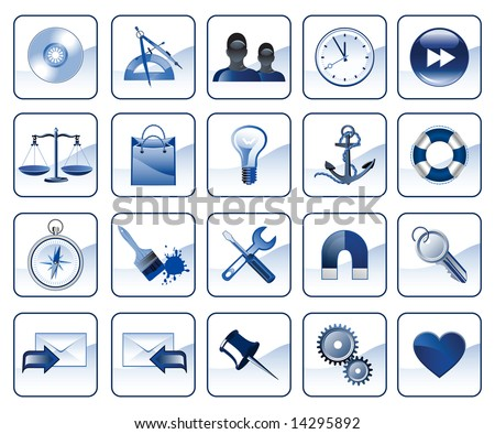Set of icons for website in blue color,  raster version of vector illustration - stock photo
