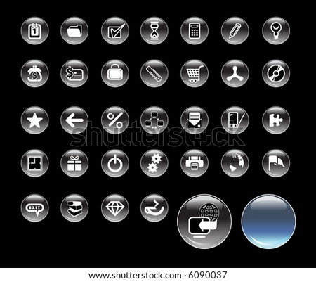 Set of icons for website, round glass icons for network - stock photo