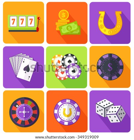 Set of icons gambling games flat style. Casino and slot machine, poker game, dice and roulette, las vegas, vegas and playing cards, win and play, gamble leisure, fortune and risk. Raster version - stock photo