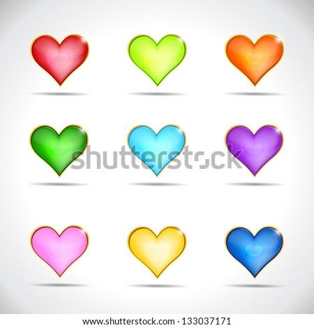 Set of icons hearts, glass buttons of different colors for web design. Raster version. Vector image inside my portfolio - stock photo