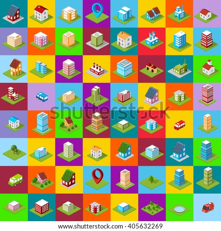 set of icons isometric house - stock photo