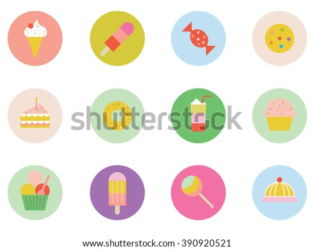 Set of icons of sweets and treats, ice cream, icy pole, lolly, cookie, cake, birthday cake, donut, smoothie, muffin, cupcake, ice cream tub, lollipop, jelly, sponge cake. - stock photo