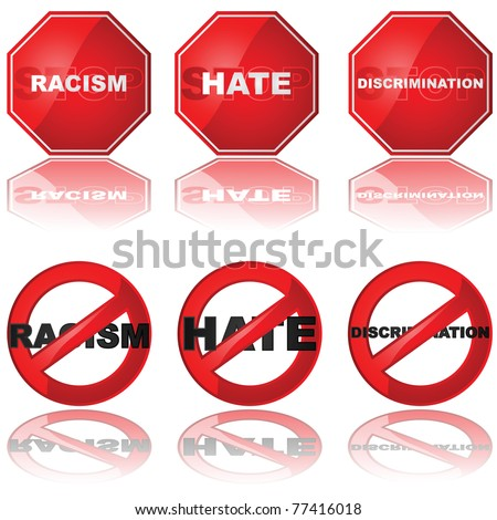 Set of icons showing a stop sign and a forbidden sign combined with the words 'racism,' 'hate,' and 'discrimination' - stock photo