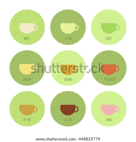 Set of icons with cups of chinese and herbal tea, isolated elements