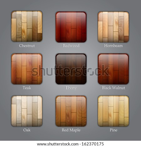 Set of icons with different types of wood textures. Raster version - stock photo