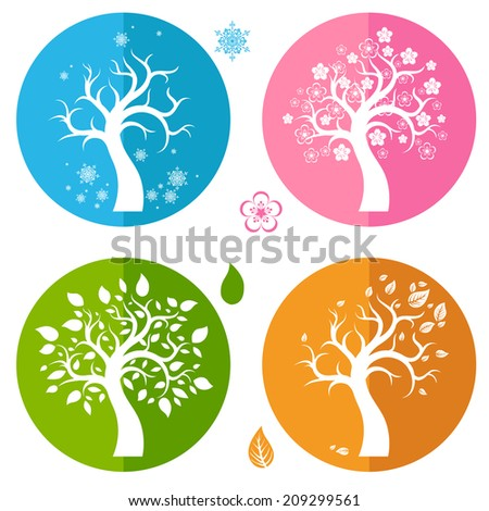 Set of icons with four trees. Raster version. - stock photo
