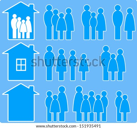 set of icons with people images and house silhouette - stock photo