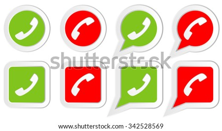 Set of Icons with phone handset in rounds, squares  and speech bubbles. Illustration for web design, icons, signs, stickers  - stock photo