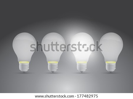 set of ideas. one bright ideas illustration design over a grey background
