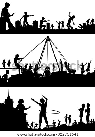 Set of illustrated foreground silhouettes of children playing in school playgrounds - stock photo