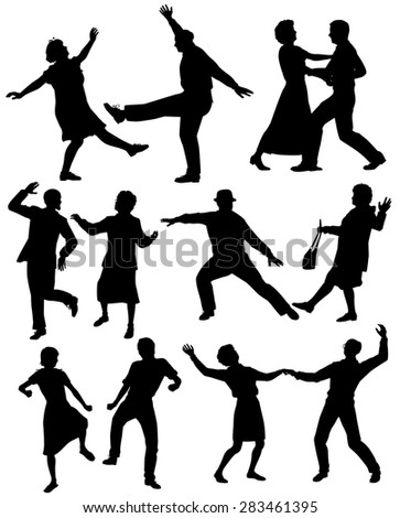 Set of illustrated silhouettes of elderly couples dancing together - stock photo