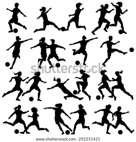 Set of illustrated silhouettes of women playing football - stock photo