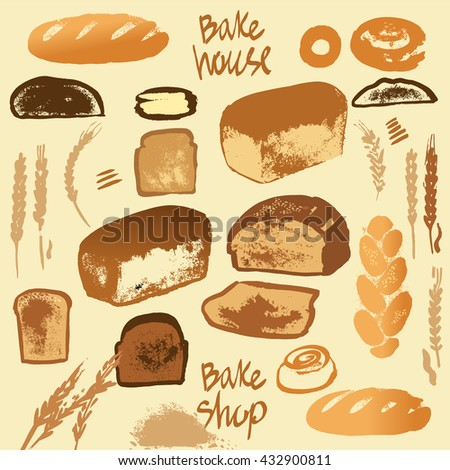 Set of illustration of bread for menu bake shop and house.