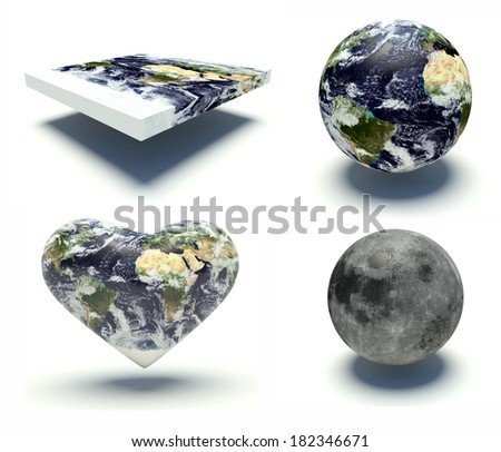 Set of illustrations of the Planet Earth with different shapes and the moon. 3d render illustration. Elements of this image furnished by NASA. - stock photo