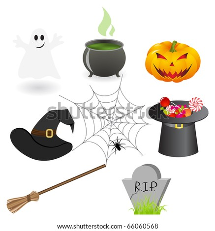 Set of illustrations on a halloween theme.