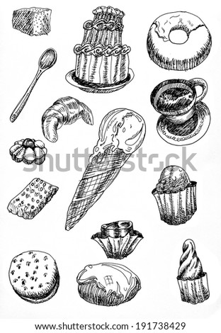 set of illustrations or sketches of desserts hand drawn with black pen on white paper - stock photo