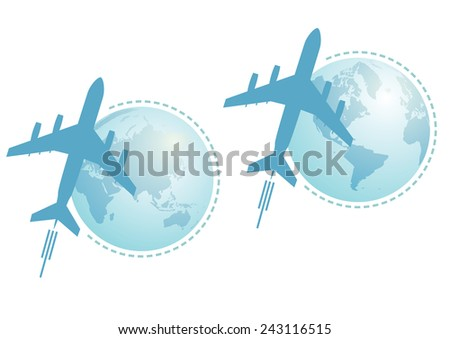 set of  illustrations with Earth and airplane - stock photo