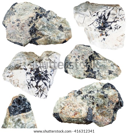 set of ilmenite ore on natural mineral stones and rocks (nepheline, dolomite) isolated on white background
