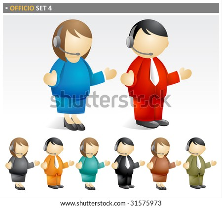 Set of images in the Officio package. Includes illustrations of business men and women talking on a headset telephone. - stock photo