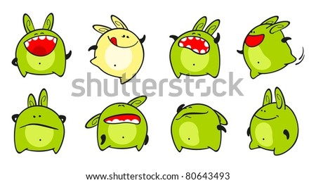 Set of images of a small green monster (raster version) - stock photo