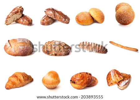 Set of images of bread isolated on white background