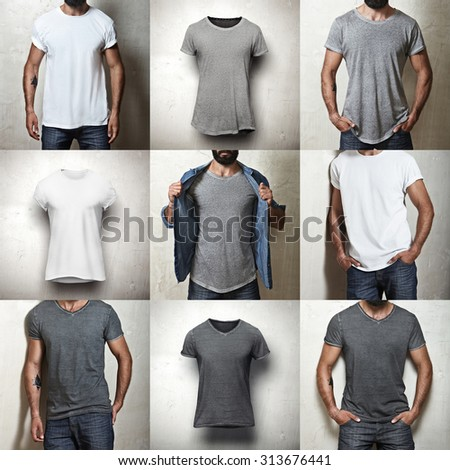 Set of images of different blank t-shirts - stock photo