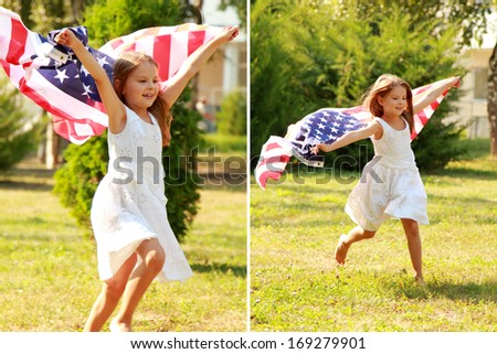 Set of images of happy adorable little girl smiling and waving American flag outside/ collage of photos of smiling child celebrating 4th july - Independence Day - stock photo