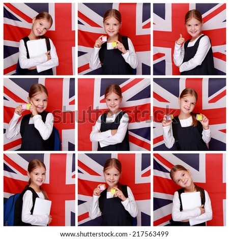 set of images of happy smiling little girl in a school uniform stands on a background of the flag of Great Britain - stock photo