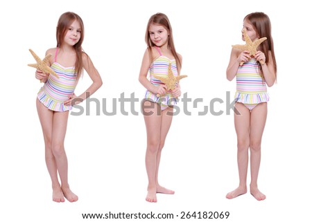 Set of images of kid with sea star