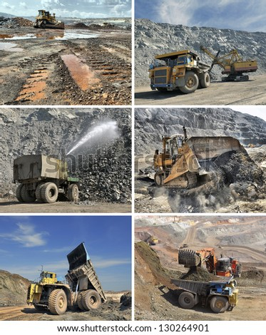 set of images of mining equipment - stock photo