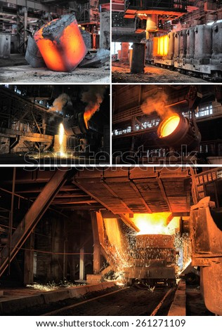set of images of the metallurgical industry - stock photo