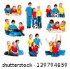 set of images small kids isolated on a white background - stock photo