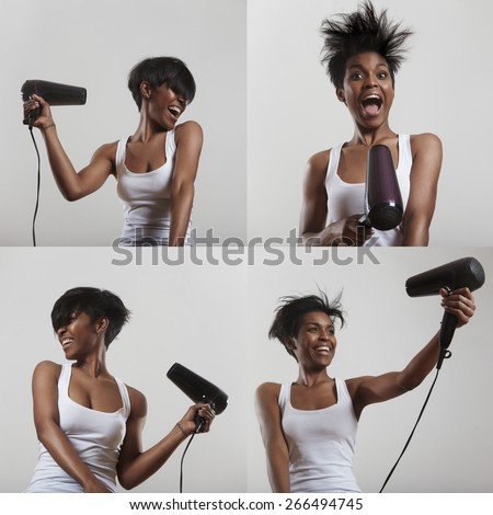 set of images with a girl who having fun with a hair dryer - stock photo