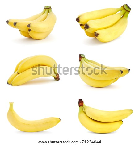 Set of images with Bananas on white background - stock photo