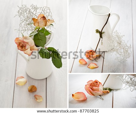 Set of images with dried roses and a jar on a white wooden background.