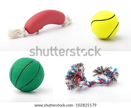set of images with pet toys on white background - stock photo