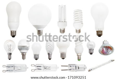 set of incandescent, compact fluorescent, halogen, LED light bulbs isolated on white background - stock photo
