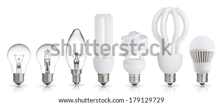set of incandescent, halogen, compact fluorescent, LED light bulbs isolated on white background - stock photo