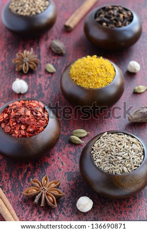 Set of Indian spices - cumin, chili, yellow nut spicy mix, coriander, white, black and green cardamon, nutmeg, cinnamon, star anise and cloves on rusted wooden background - stock photo