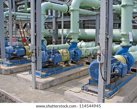 set of industrial pumps and pipes
