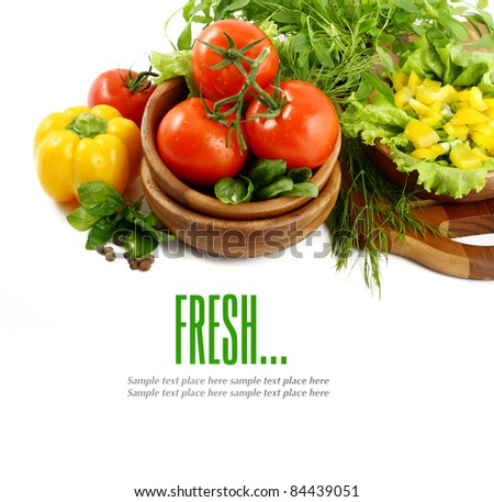 Set of ingredients and spice for food cooking isolated on white background - stock photo