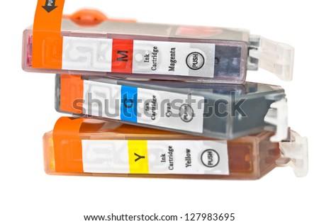 Set of ink printer cartridges on white background - stock photo