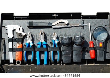 set of instruments in tool box