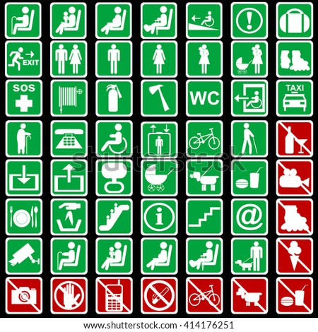 Set of international signs used in transportation means - stock photo