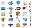 Set of internet icons. Raster version of vector illustration. - stock photo
