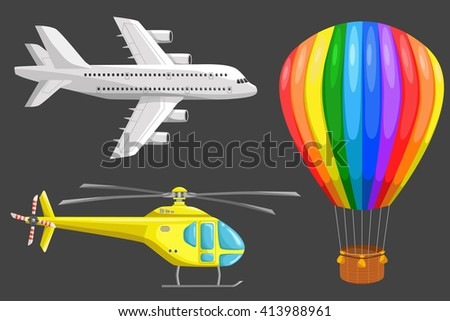 Set of isolated air transport: plane, helicopter and aerostat. Color icons set. Airline service. Flying airplanes illustration - stock photo
